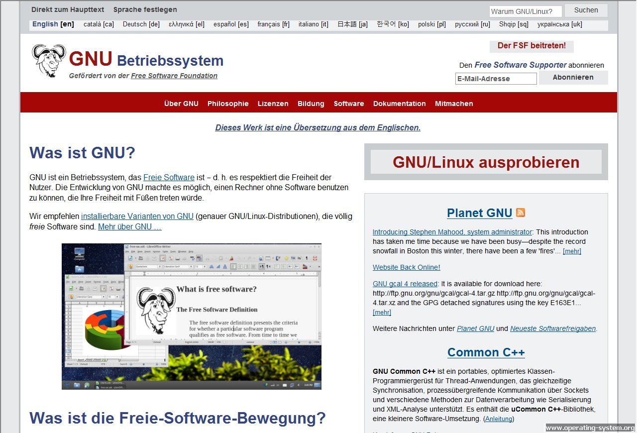 Screenshot linux gnu website 2015