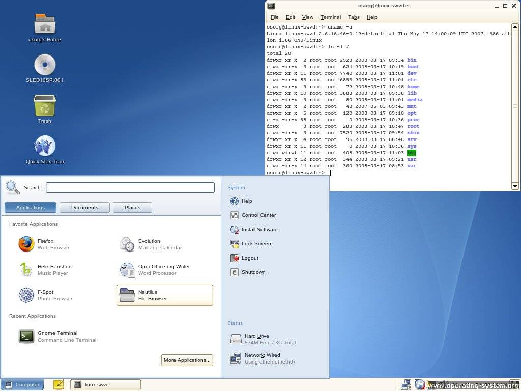 Screenshot linux suse suse desktop 10sp1 08