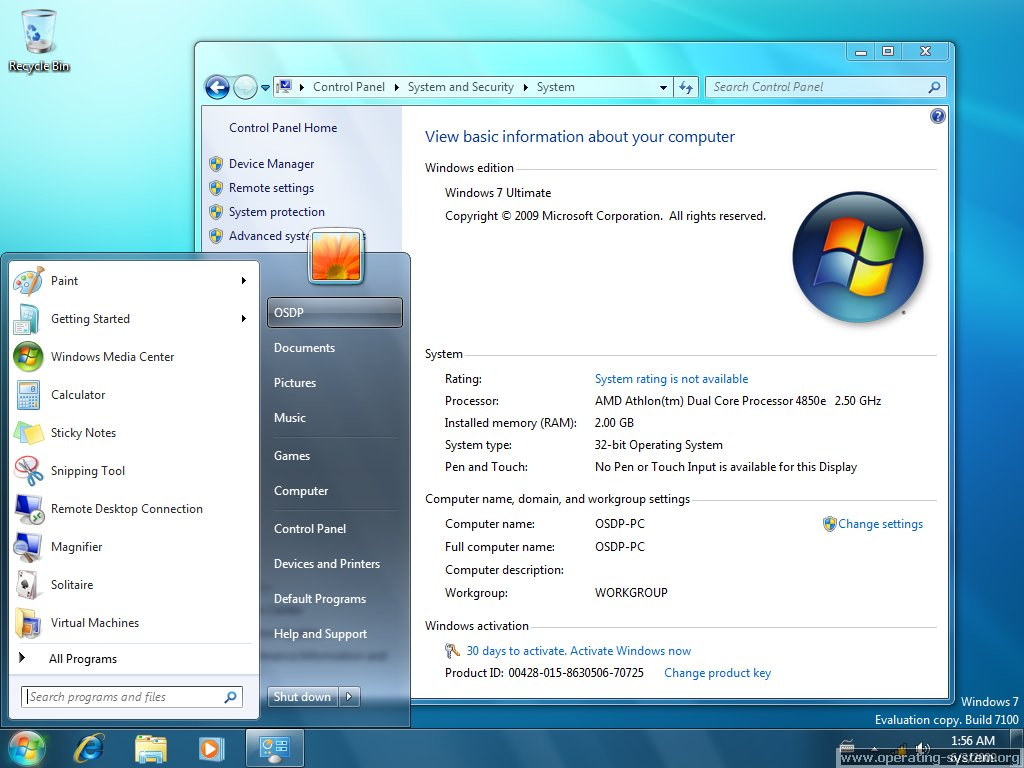 Screenshot microsoft win7 windows7 rc 12