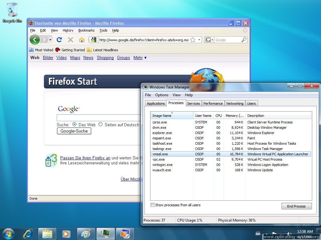 Screenshot microsoft win7 windows7 rc 22