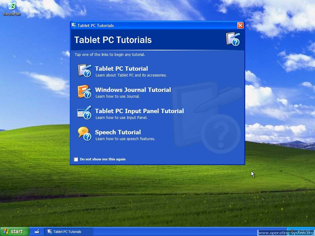 Screenshot: microsoft windows xp tablet edition 06