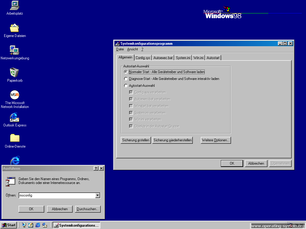 Screenshot: microsoft windows98 09