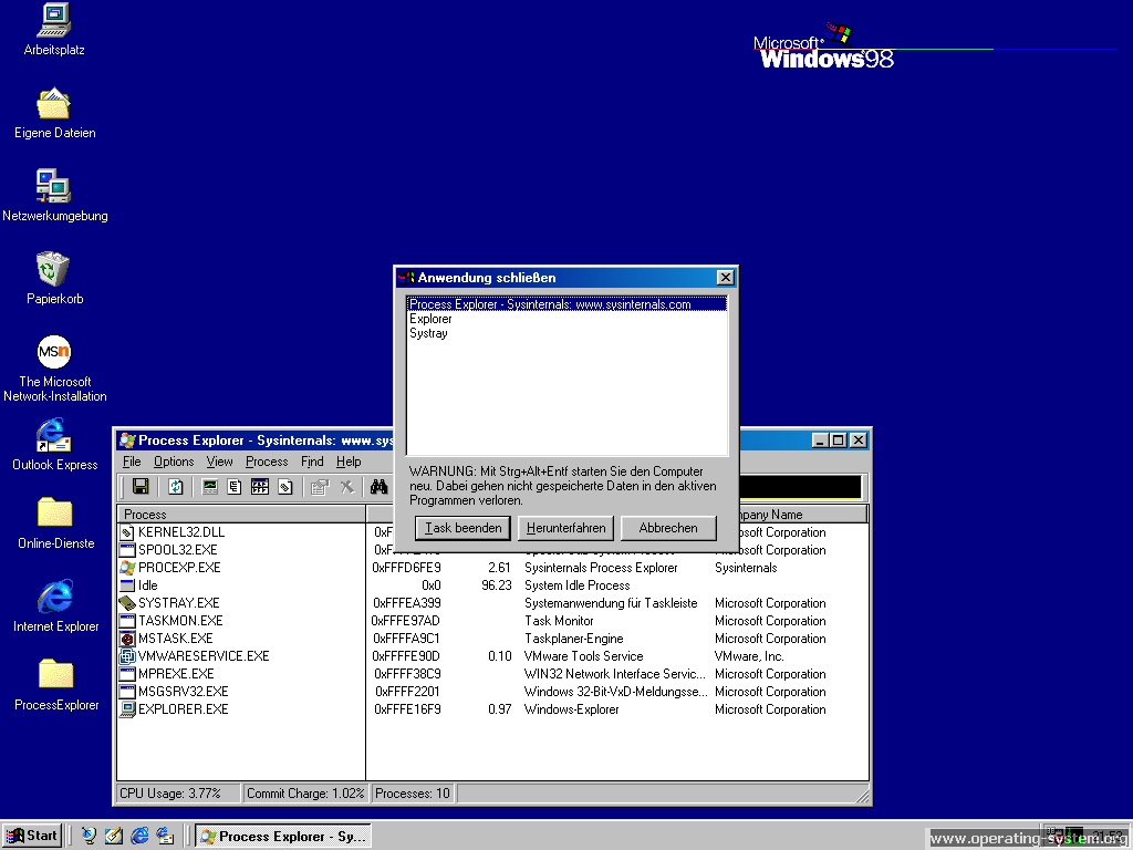 Screenshot microsoft windows98 10