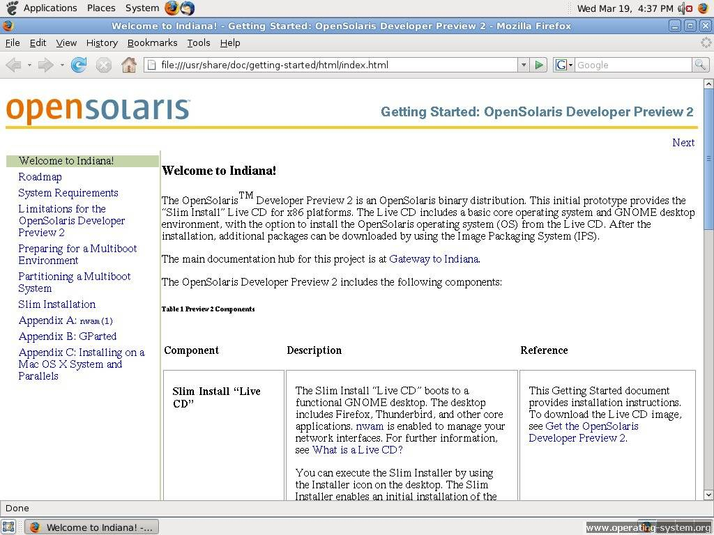 Screenshot sun opensolaris preview2 12