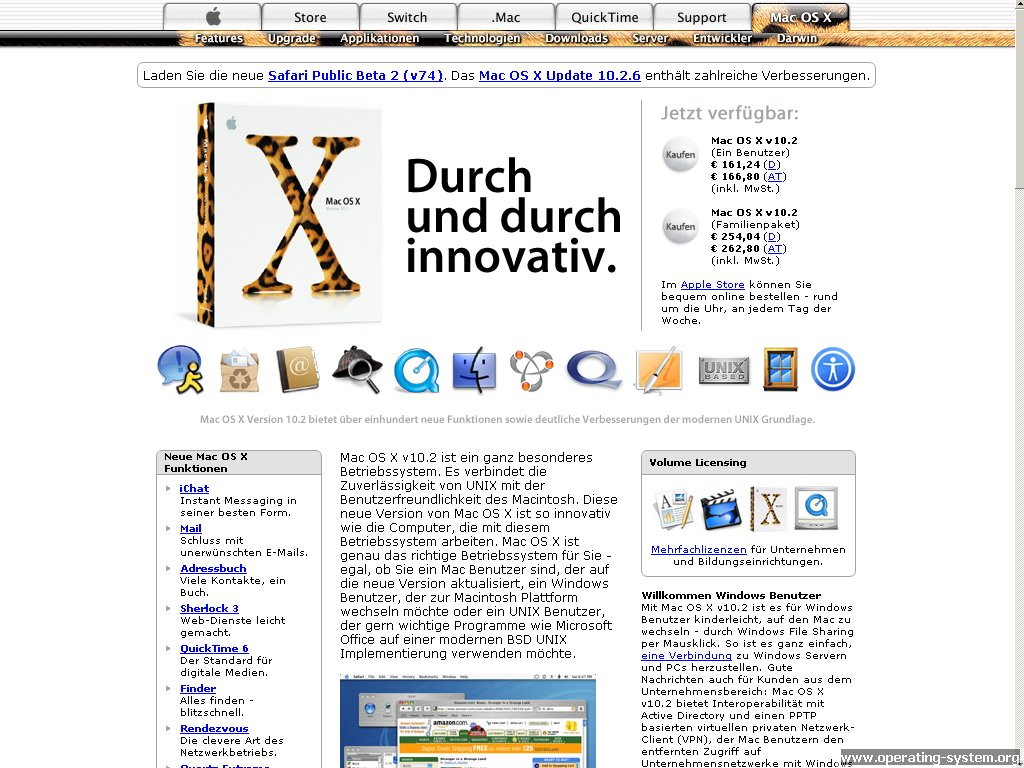 Bildschirmfoto: .. websites 2003 apple website 2003