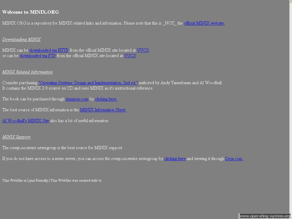Screenshot .. websites 2003 minix website 2003