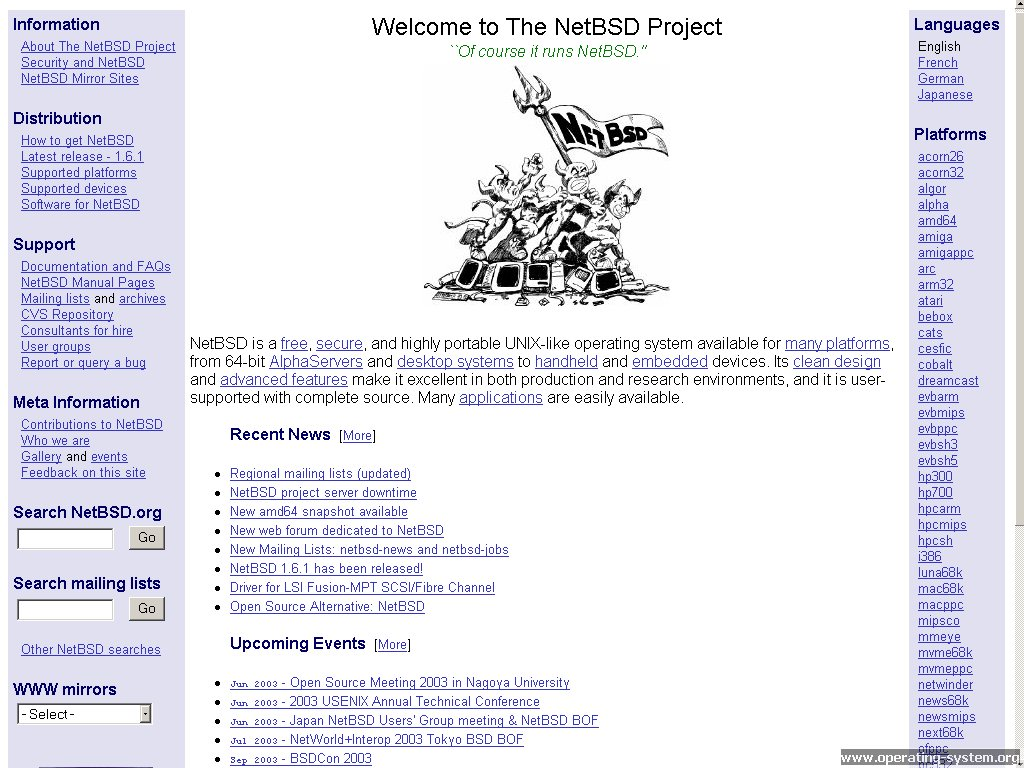 Screenshot .. websites 2003 netbsd website 2003