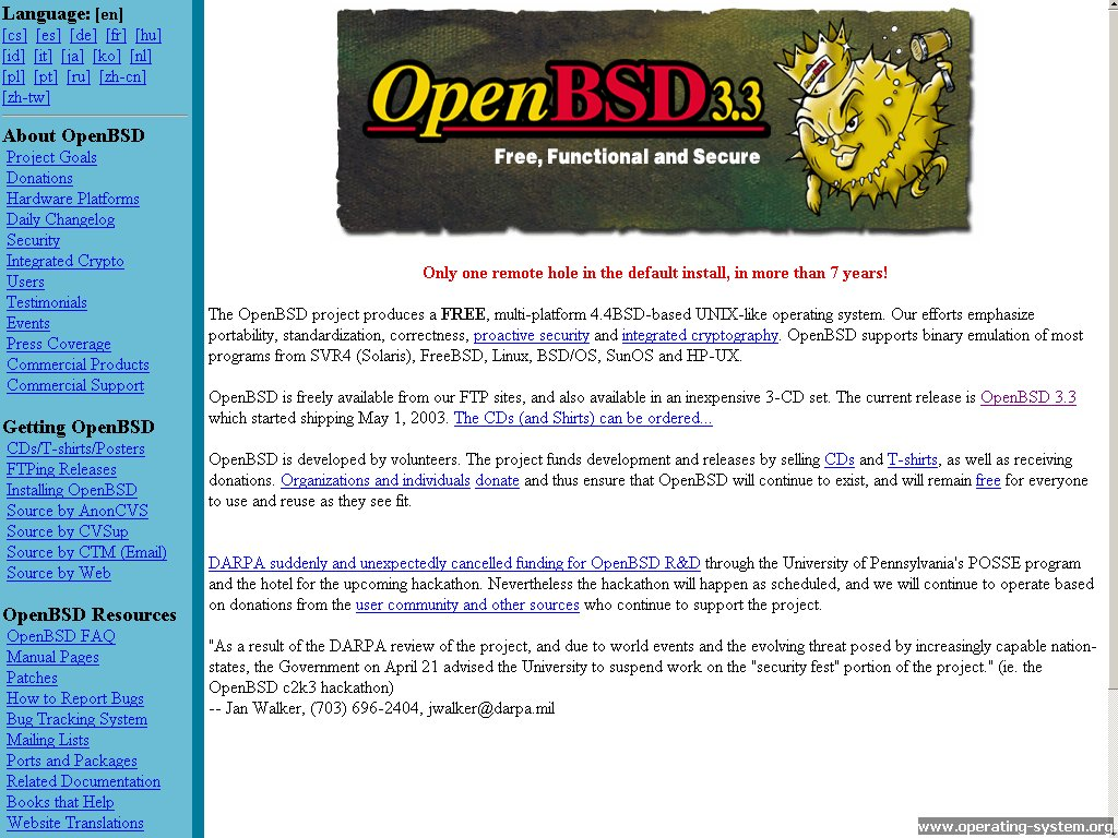 Screenshot .. websites 2003 openbsd website 2003