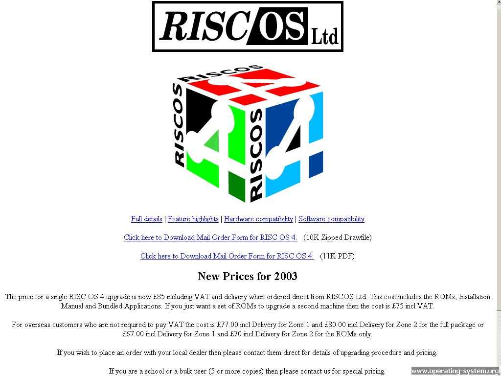 Screenshot .. websites 2003 riscos website 2003