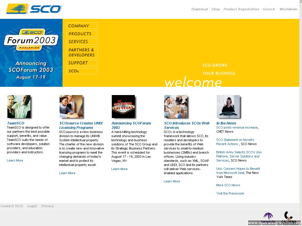 Screenshot .. websites 2003 sco website 2003