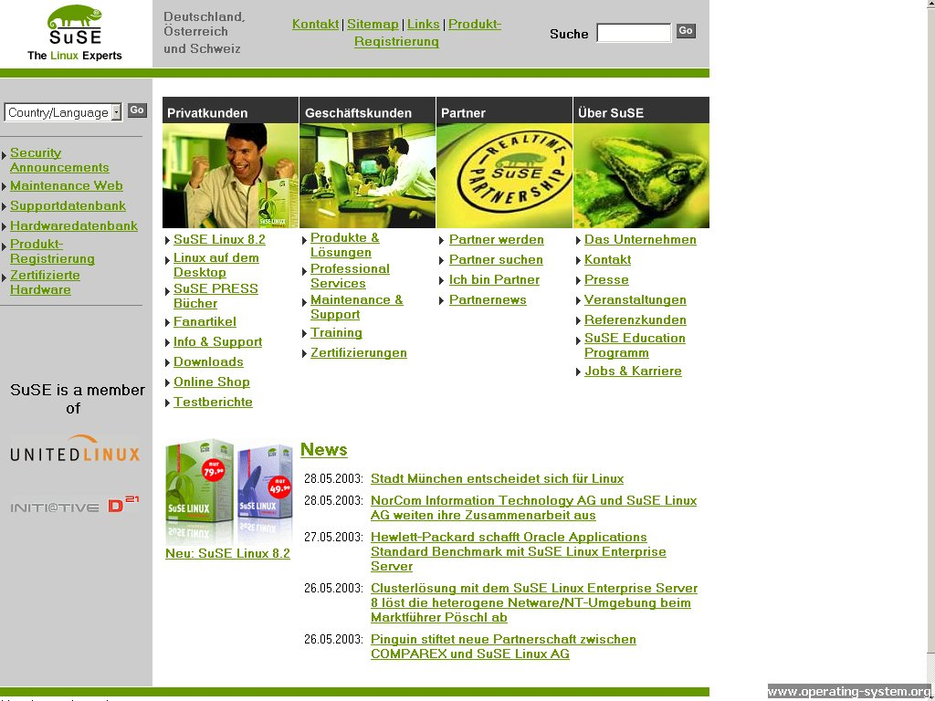 Screenshot .. websites 2003 suse website 2003